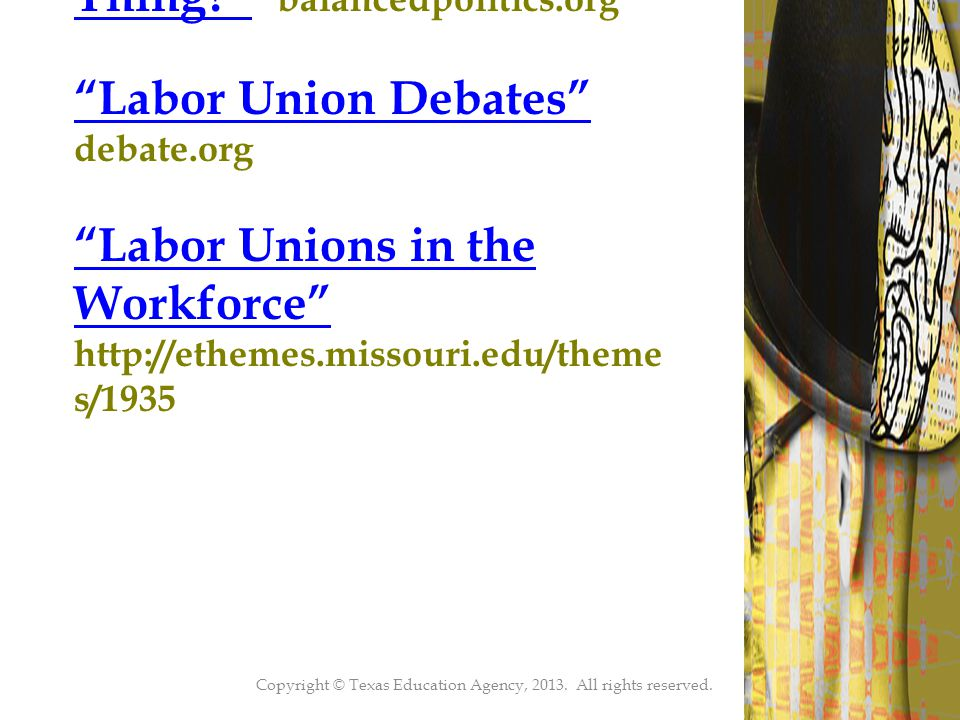 47 Are Labor Unions a Good Thing Are Labor Unions a Good Thing balancedpolitics.org Labor Union Debates Labor Union Debates debate.org Labor Unions in the Workforce Labor Unions in the Workforce http://ethemes.missouri.edu/theme s/1935