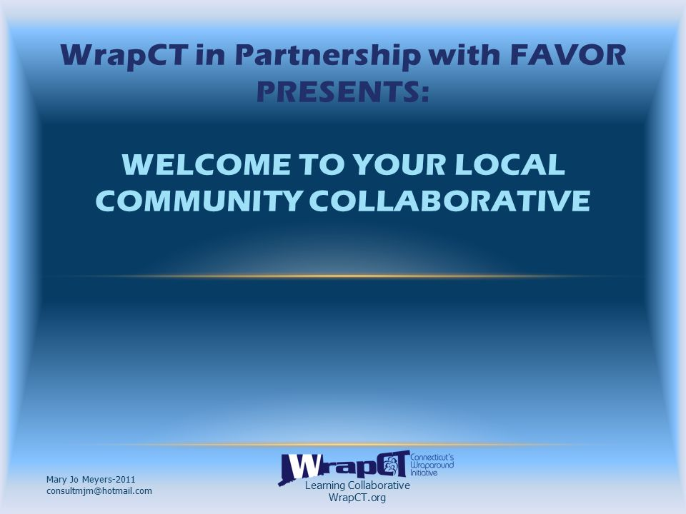 Learning Collaborative WrapCT.org Mary Jo Meyers-2011 consultmjm@hotmail.com WHAT WILL BE EXPECTED OF YOU.