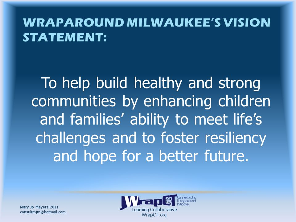 Learning Collaborative WrapCT.org Mary Jo Meyers-2011 consultmjm@hotmail.com WHAT IS WRAPAROUND MILWAUKEE.