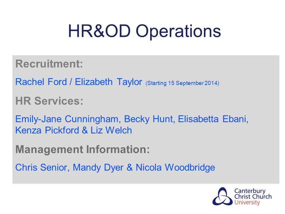 HR&OD Operations Recruitment: Rachel Ford / Elizabeth Taylor (Starting 15 September 2014) HR Services: Emily-Jane Cunningham, Becky Hunt, Elisabetta E