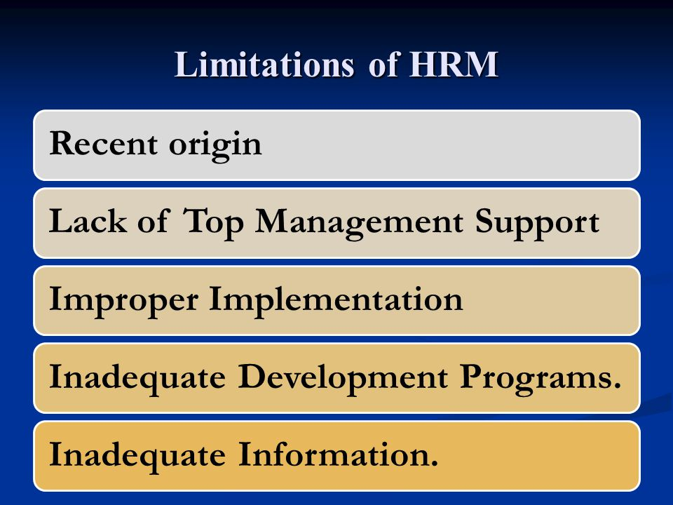 Limitations of HRM Recent originLack of Top Management SupportImproper ImplementationInadequate Development Programs.Inadequate Information.