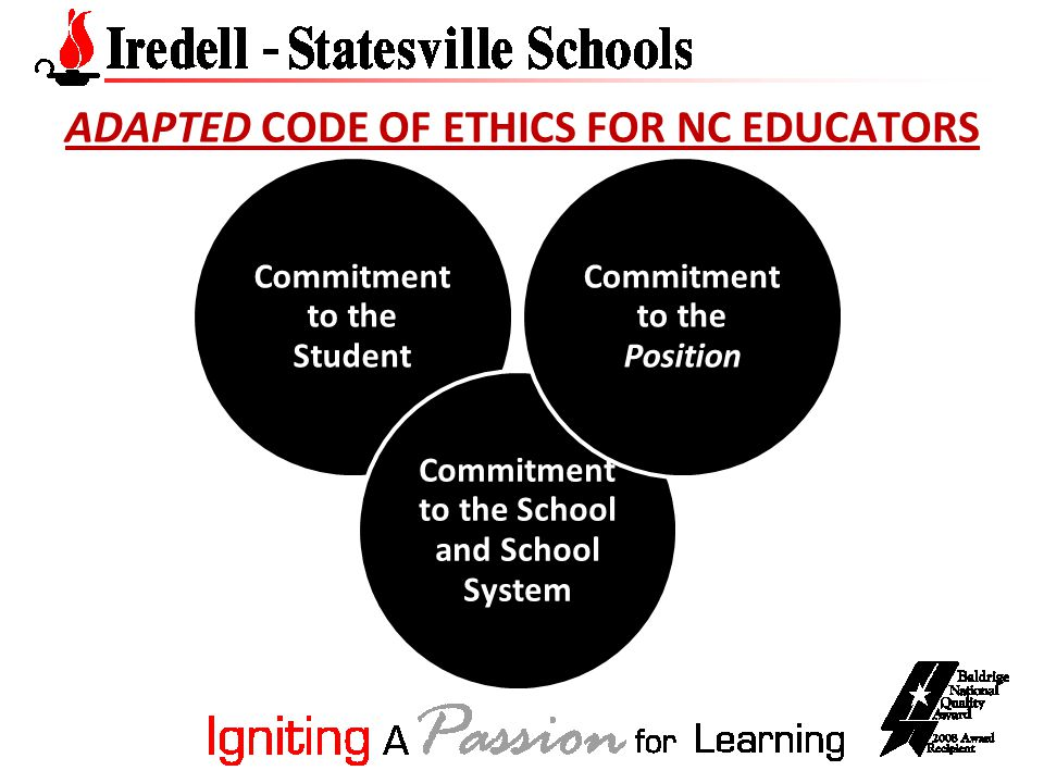 ADAPTED CODE OF ETHICS FOR NC EDUCATORS Commitment to the Student Commitment to the School and School System Commitment to the Position
