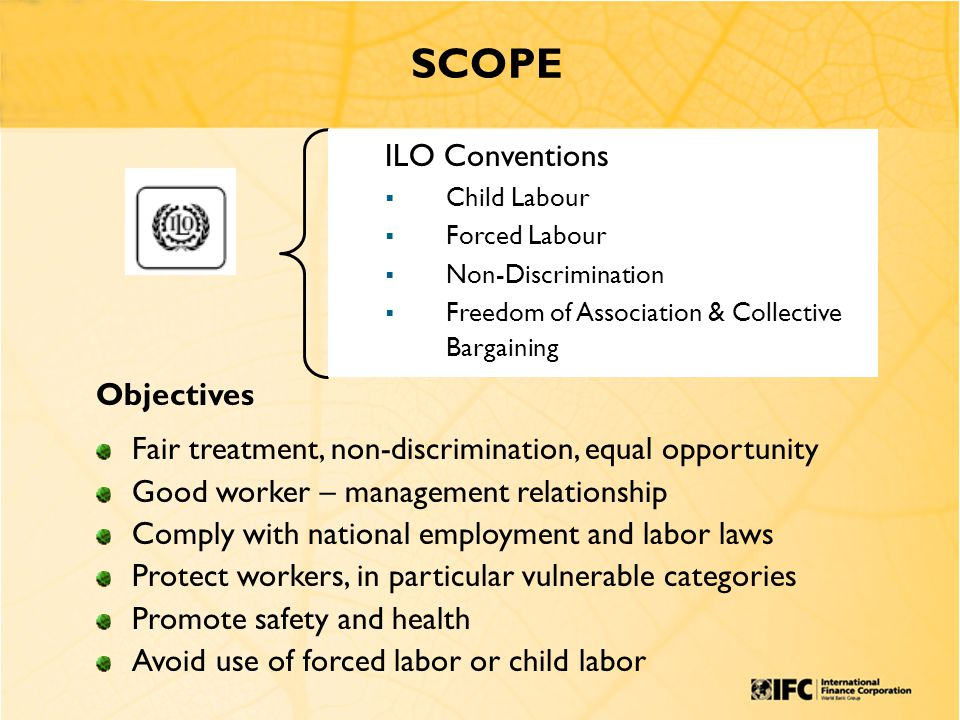 ILO Conventions  Child Labour  Forced Labour  Non-Discrimination  Freedom of Association & Collective Bargaining SCOPE Objectives Fair treatment, non-discrimination, equal opportunity Good worker – management relationship Comply with national employment and labor laws Protect workers, in particular vulnerable categories Promote safety and health Avoid use of forced labor or child labor