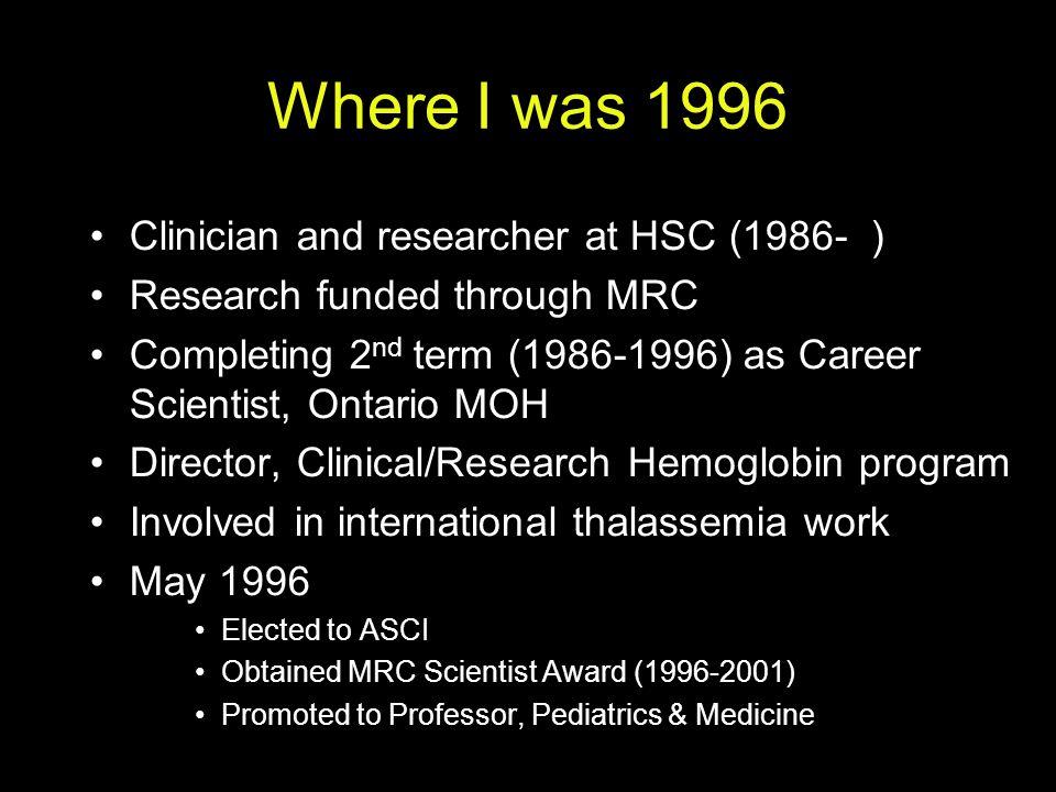 Three trials of an iron chelator Long-term open-label trial 1989- PI Olivieri [Koren pharmacokinetic studies ) RCT, deferiprone vs deferoxamine 1993- PI Olivieri [Koren pharmacokinetic studies ) European toxicity trial Scientific Chairs Olivieri & Brittenham (CWRU)
