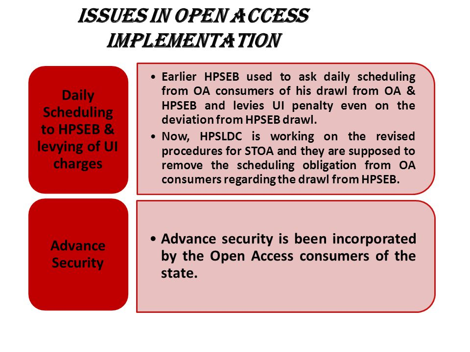 ISSUES IN OPEN ACCESS IMPLEMENTATION Earlier HPSEB used to ask daily scheduling from OA consumers of his drawl from OA & HPSEB and levies UI penalty even on the deviation from HPSEB drawl.