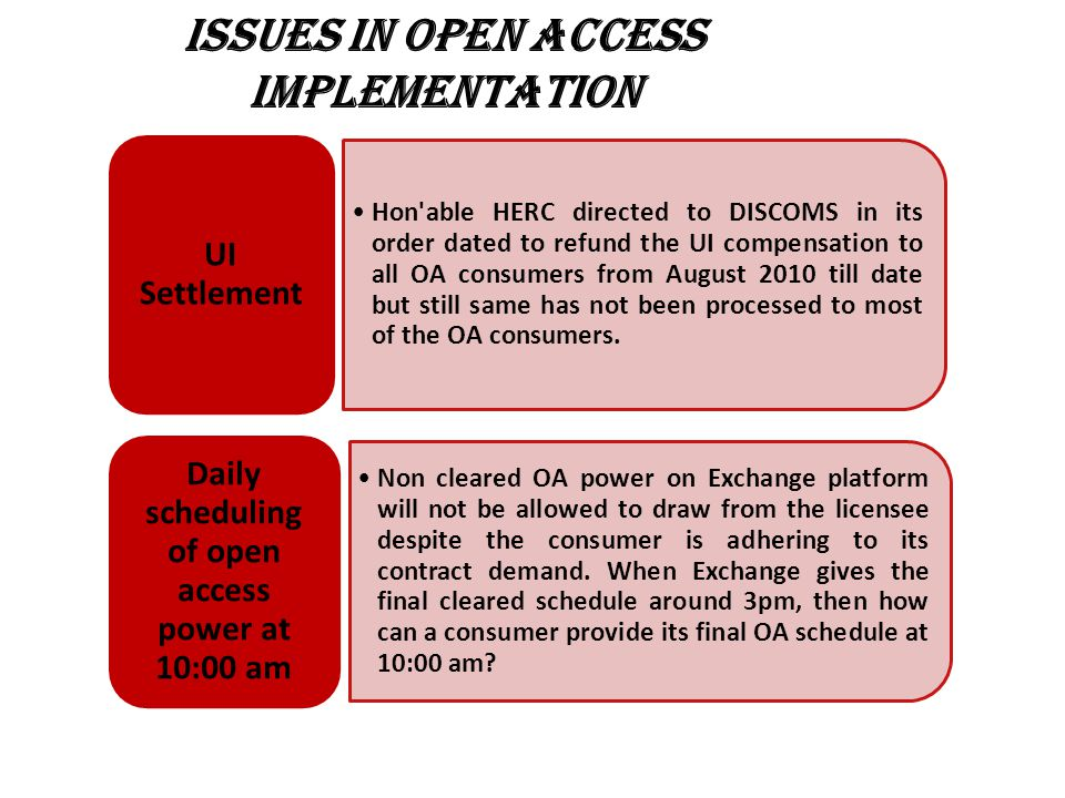 ISSUES IN OPEN ACCESS IMPLEMENTATION Hon able HERC directed to DISCOMS in its order dated to refund the UI compensation to all OA consumers from August 2010 till date but still same has not been processed to most of the OA consumers.