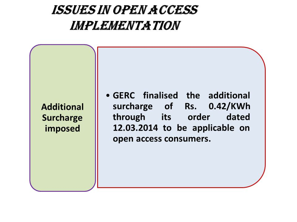 ISSUES IN OPEN ACCESS IMPLEMENTATION GERC finalised the additional surcharge of Rs.