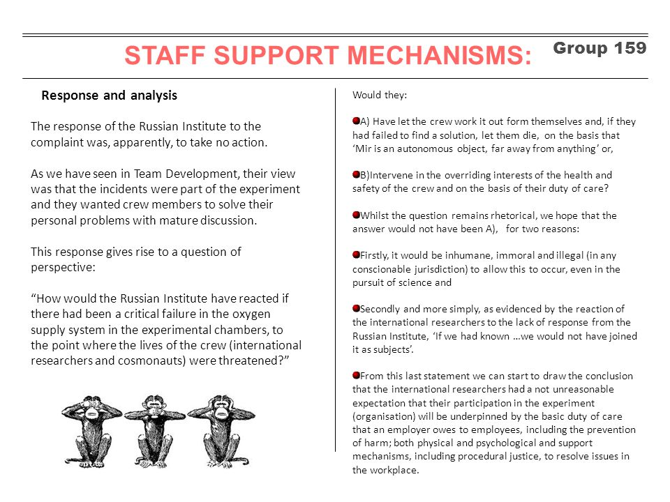 Group 159 STAFF SUPPORT MECHANISMS: Response and analysis The response of the Russian Institute to the complaint was, apparently, to take no action. A