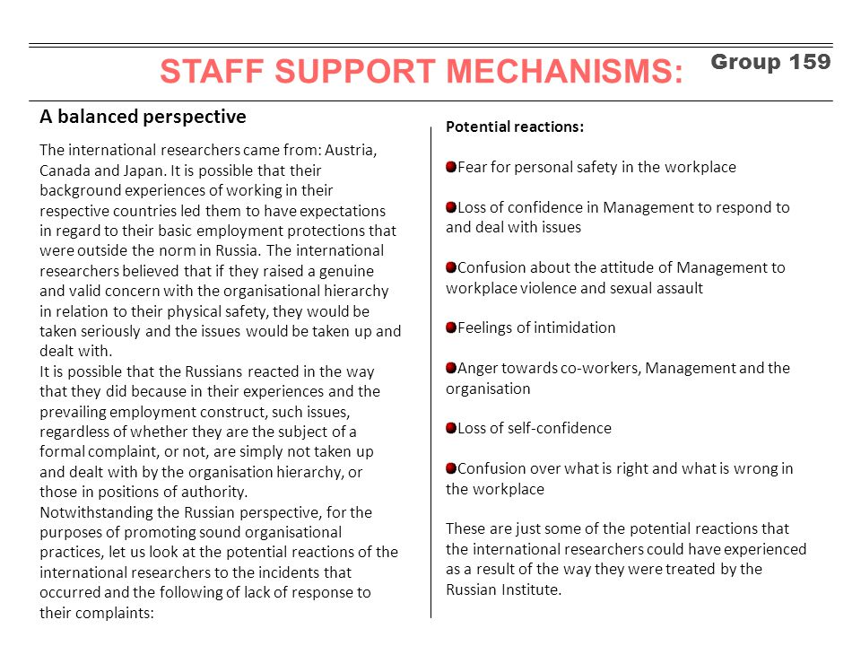Group 159 STAFF SUPPORT MECHANISMS: An alternative path It is hypothesised that if the Russian Institute had adopted some simple, but well proven steps to dealing with the issues highlighted above, they could have prevented the eventual breakdown of the experiment and the acrimonious exchanges that ensued in the public domain.