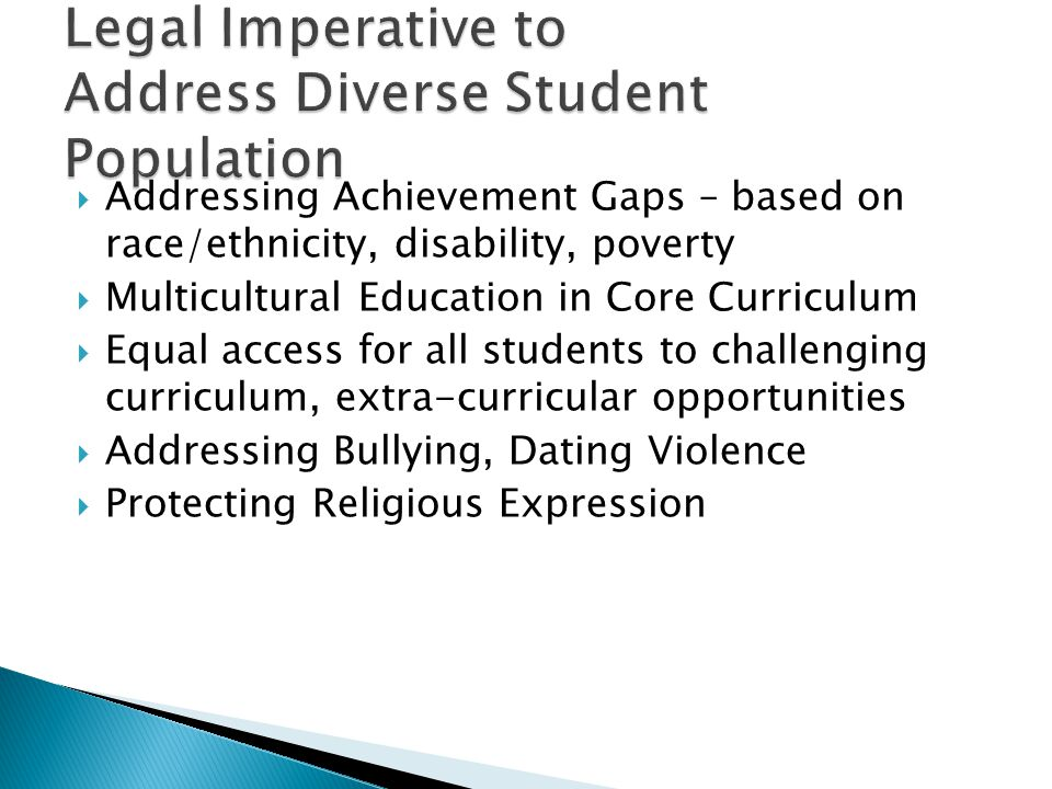 Addressing Achievement Gaps – based on race/ethnicity, disability, poverty  Multicultural Education in Core Curriculum  Equal access for all students to challenging curriculum, extra-curricular opportunities  Addressing Bullying, Dating Violence  Protecting Religious Expression