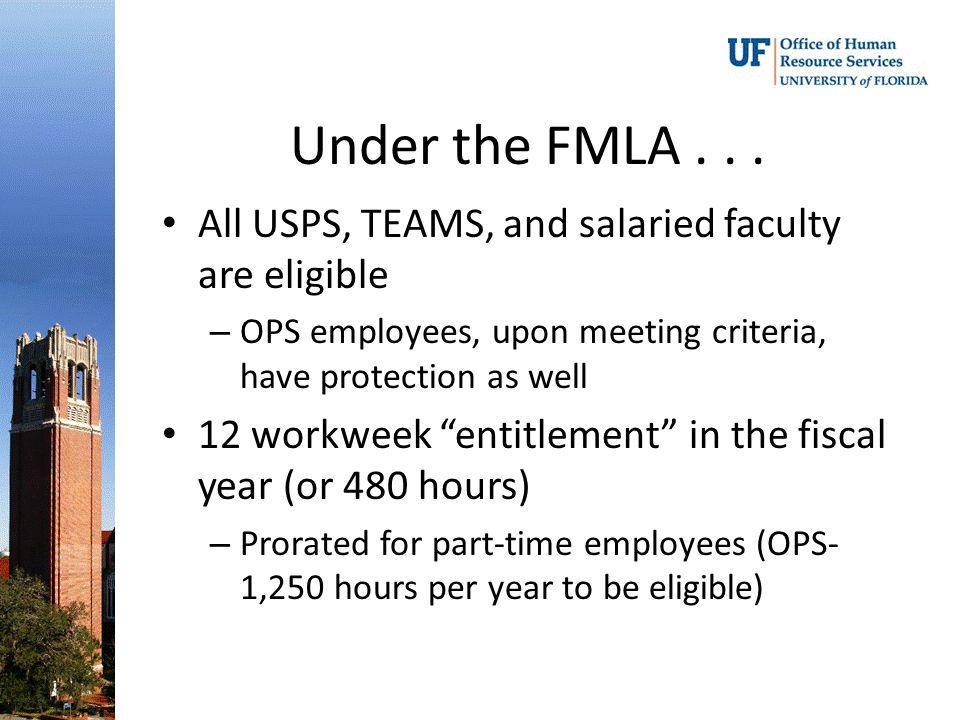 Under the FMLA...