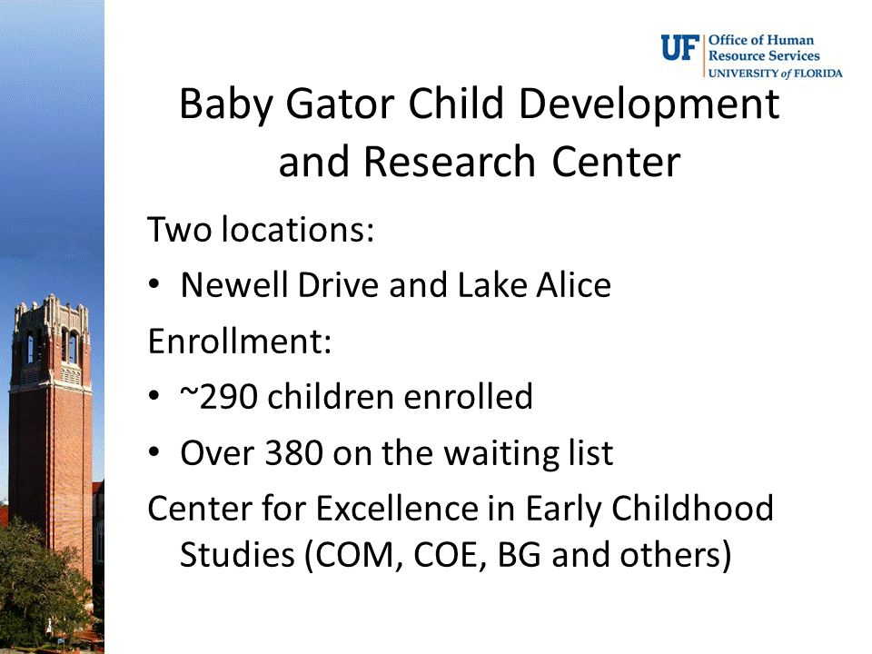 Baby Gator Child Development and Research Center Two locations: Newell Drive and Lake Alice Enrollment: ~290 children enrolled Over 380 on the waiting list Center for Excellence in Early Childhood Studies (COM, COE, BG and others)