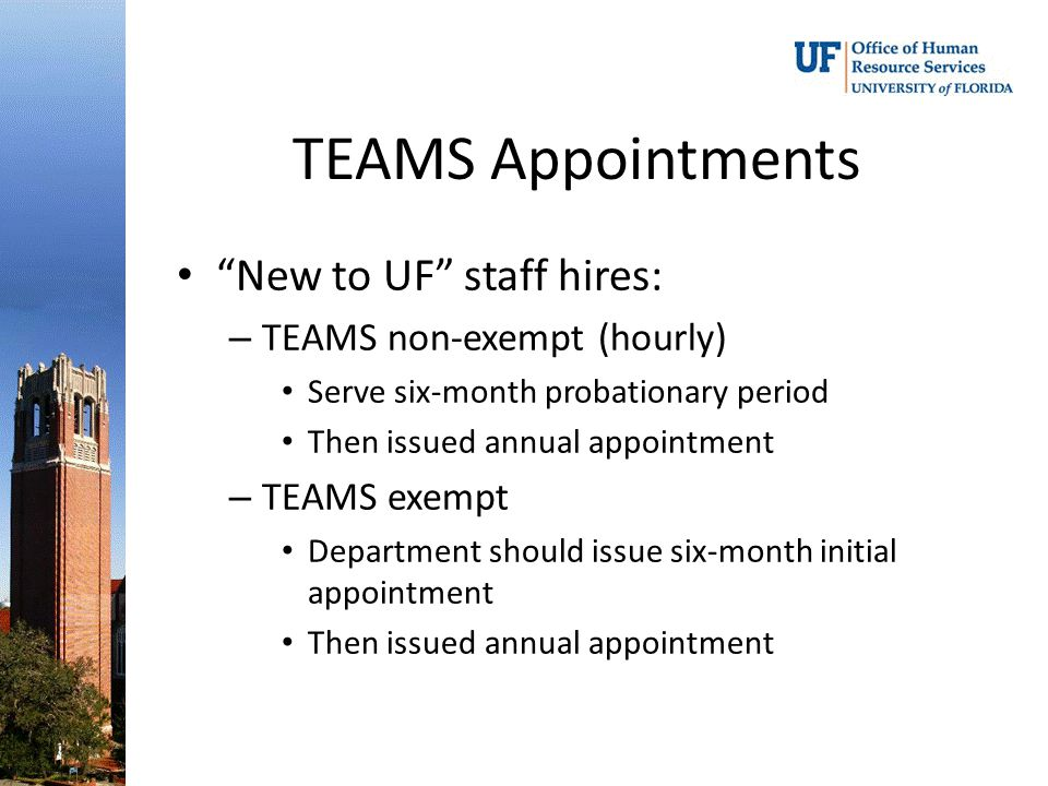New to UF staff hires: – TEAMS non-exempt (hourly) Serve six-month probationary period Then issued annual appointment – TEAMS exempt Department should issue six-month initial appointment Then issued annual appointment
