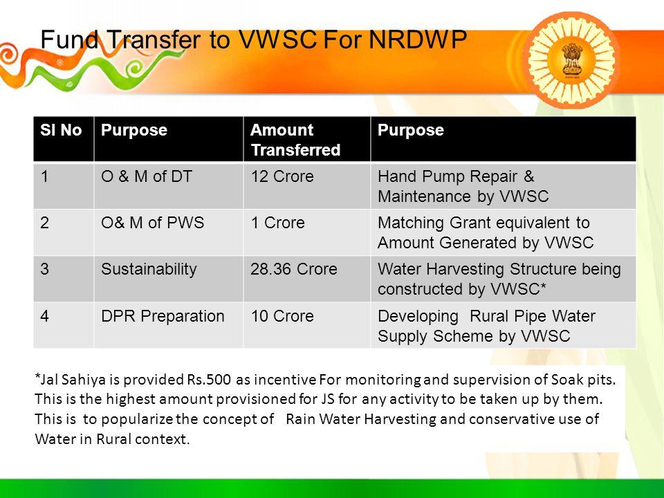 Fund Transfer to VWSC For NRDWP Sl NoPurposeAmount Transferred Purpose 1O & M of DT12 CroreHand Pump Repair & Maintenance by VWSC 2O& M of PWS1 CroreM
