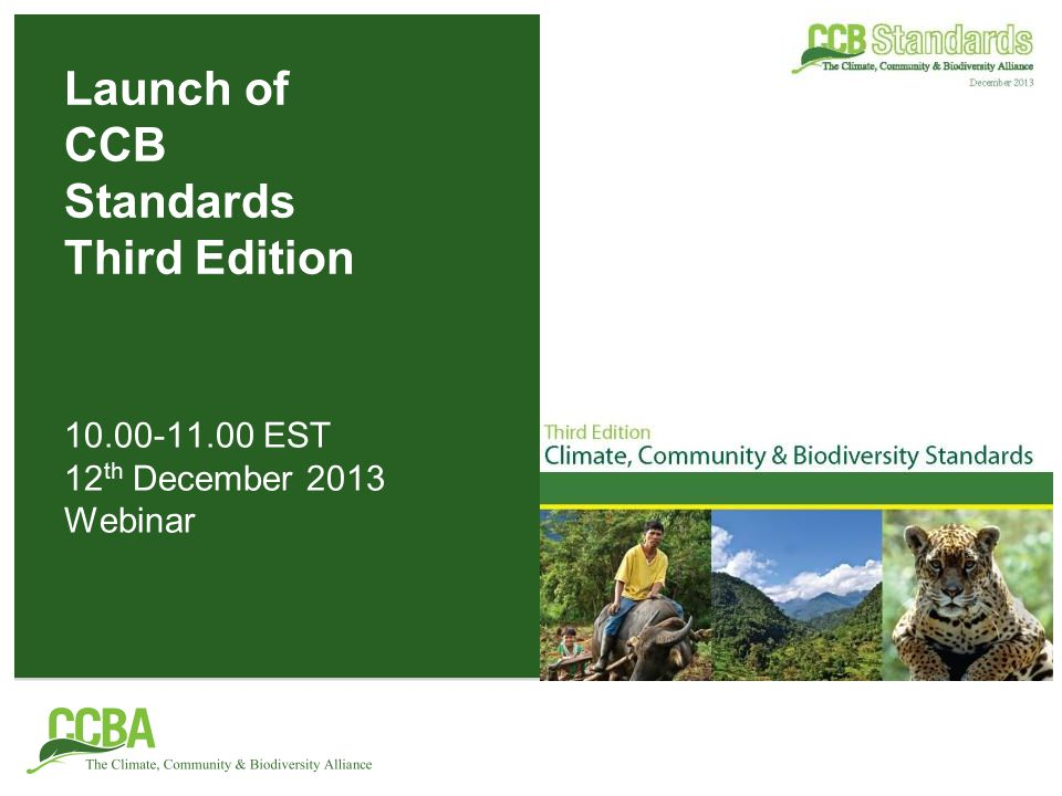 Webinar agenda Introduction to the CCB Standards and the revision process –Joanna Durbin, CCBA Overview of the Third Edition –Priti Narasimhan, CCBA Overview of the Rules for the Use of CCB Standards –Gareth Wishart, CCBA Reaction from users of the CCB Standards –Vasco van Roosmalen – Equipe de Conservação da Amazônia –Christian Dannecker – South Pole Group –Jeffrey Hayward – Rainforest Alliance Questions and discussion