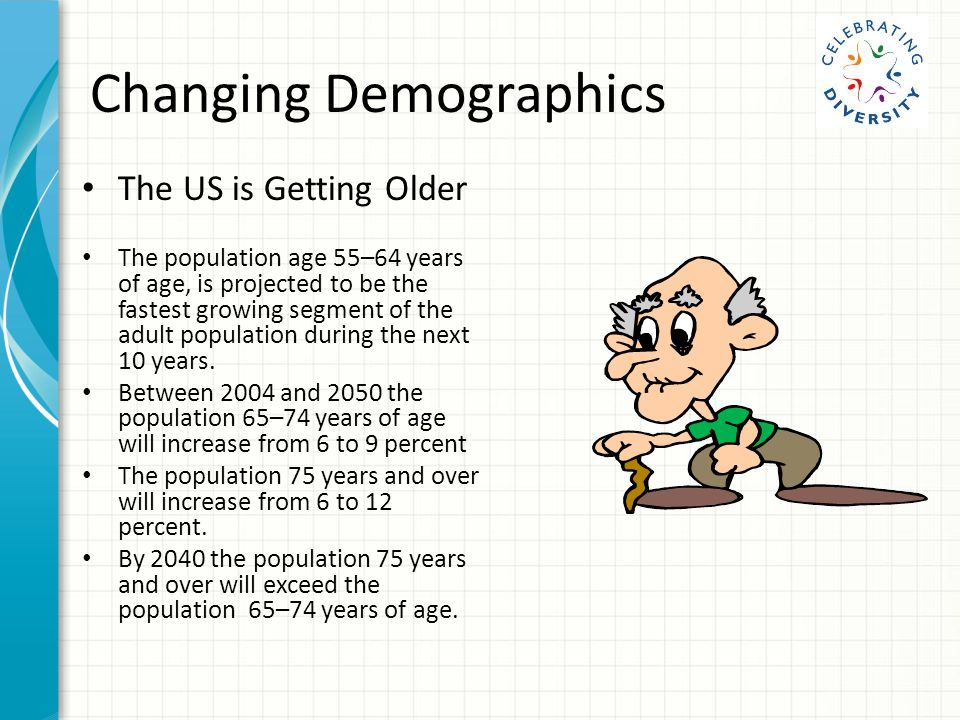 Changing Demographics The US is Getting Older The population age 55–64 years of age, is projected to be the fastest growing segment of the adult population during the next 10 years.