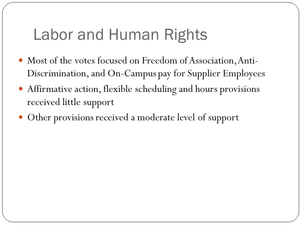 Most of the votes focused on Freedom of Association, Anti- Discrimination, and On-Campus pay for Supplier Employees Affirmative action, flexible scheduling and hours provisions received little support Other provisions received a moderate level of support