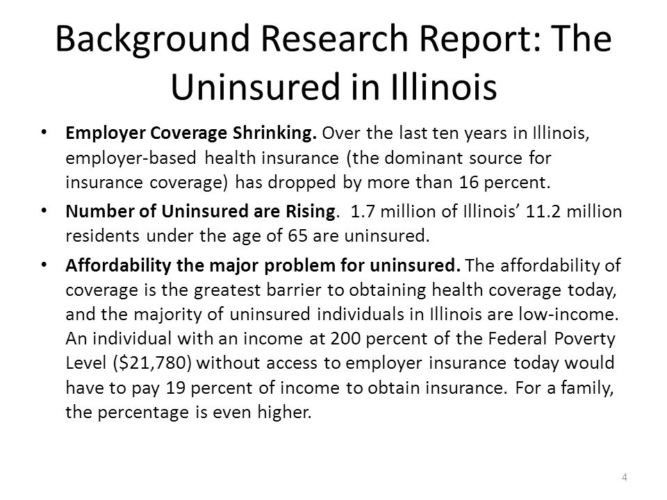 Background Research Report: Impact of the ACA Initial impact of the ACA.