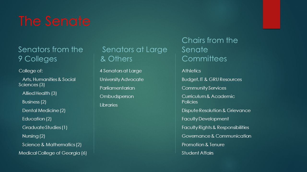 Senate Responsibilities A SYSTEM OF REPRESENTATIVE PARTICIPATION IN A UNIVERSITY'S DECISION-MAKING PROCESSES CONCERNING ALL KEY ACADEMIC AND FACULTY MATTERS THE UNIVERSITY SENATE IS A VEHICLE THROUGH WHICH FACULTY SHARE IN THE OPERATION AND MANAGEMENT OF THE UNIVERSITY.
