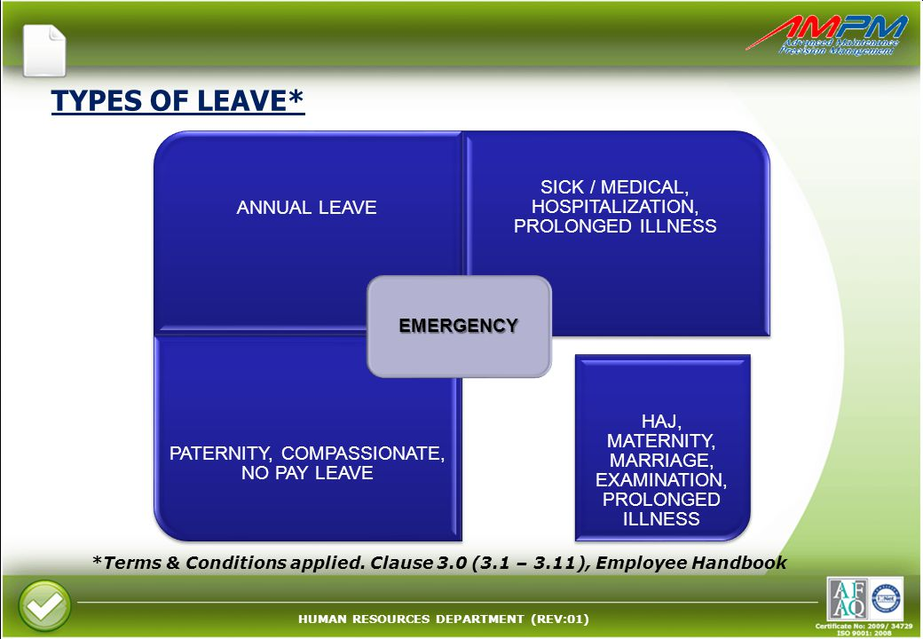 HUMAN RESOURCES DEPARTMENT (REV:01) TYPES OF LEAVE* ANNUAL LEAVE SICK / MEDICAL, HOSPITALIZATION, PROLONGED ILLNESS PATERNITY, COMPASSIONATE, NO PAY LEAVE HAJ, MATERNITY, MARRIAGE, EXAMINATION, PROLONGED ILLNESS EMERGENCY *Terms & Conditions applied.