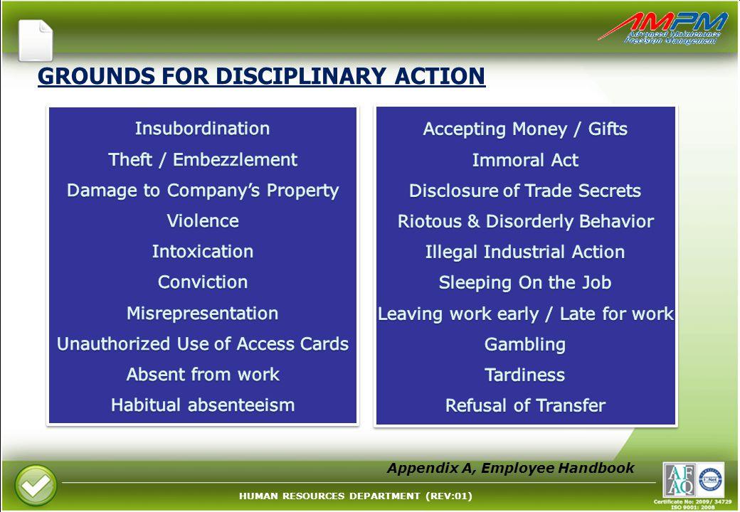 GROUNDS FOR DISCIPLINARY ACTION Appendix A, Employee Handbook