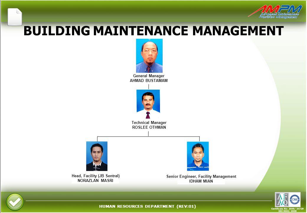 HUMAN RESOURCES DEPARTMENT (REV:01) BUILDING MAINTENANCE MANAGEMENT Technical Manager ROSLEE OTHMAN Head, Facility (JB Sentral) NORAZLAN MASRI Senior