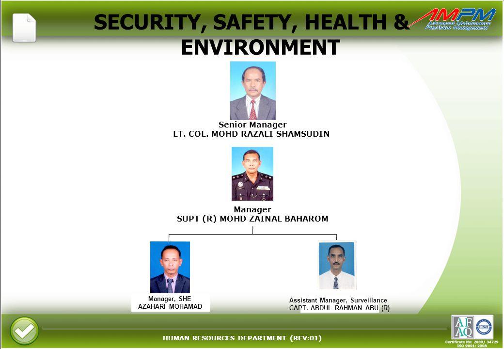 HUMAN RESOURCES DEPARTMENT (REV:01) SECURITY, SAFETY, HEALTH & ENVIRONMENT Senior Manager LT. COL. MOHD RAZALI SHAMSUDIN Manager, SHE AZAHARI MOHAMAD
