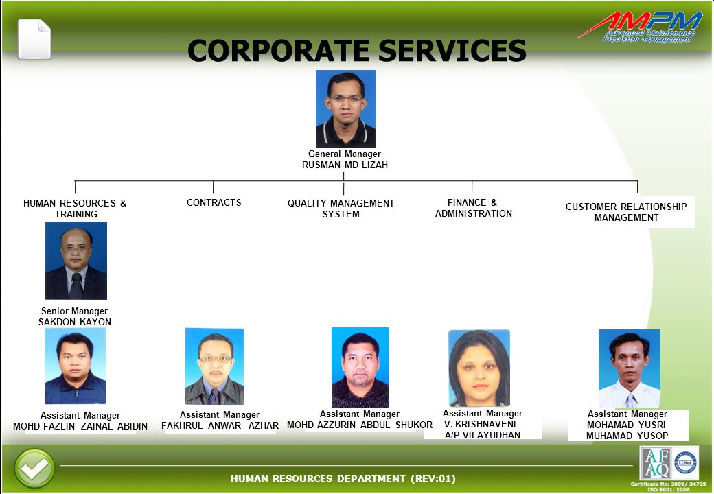 HUMAN RESOURCES DEPARTMENT (REV:01) CORPORATE SERVICES Assistant Manager V.