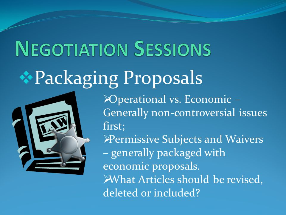  Packaging Proposals  Operational vs.