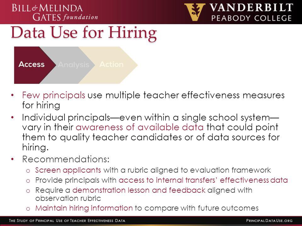 T HE S TUDY OF P RINCIPAL U SE OF T EACHER E FFECTIVENESS D ATA P RINCIPAL D ATA U SE. ORG Data Use for Hiring Few principals use multiple teacher eff