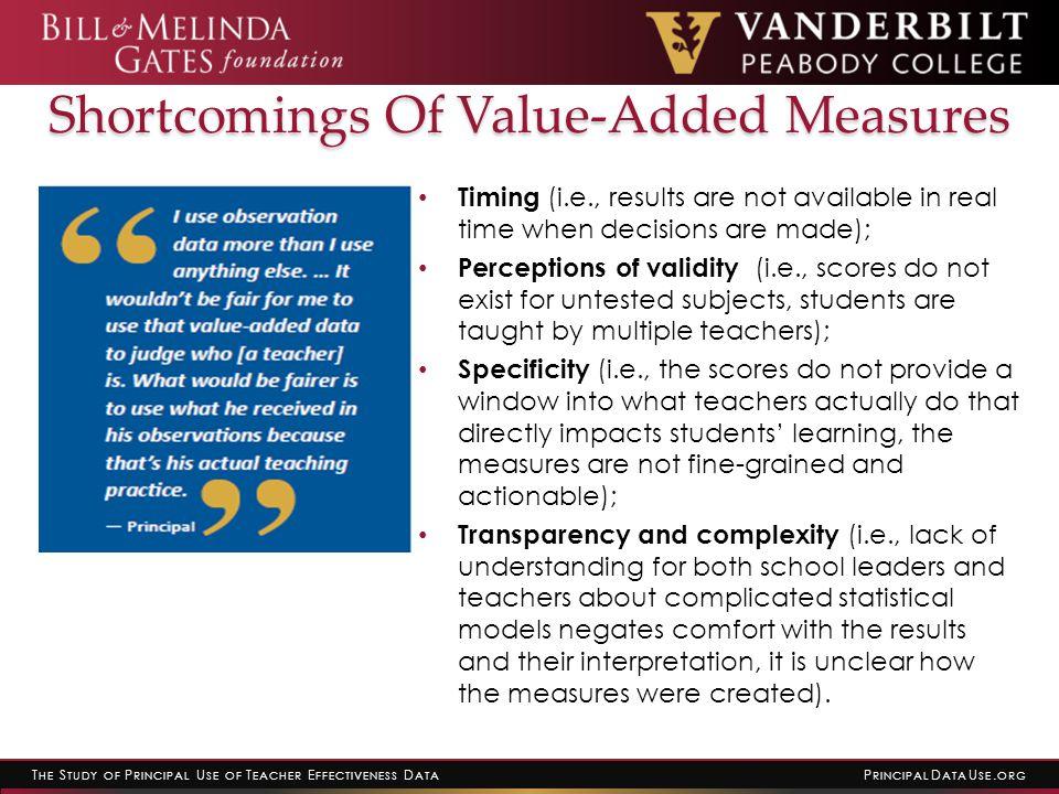 T HE S TUDY OF P RINCIPAL U SE OF T EACHER E FFECTIVENESS D ATA P RINCIPAL D ATA U SE. ORG Shortcomings Of Value-Added Measures Timing (i.e., results