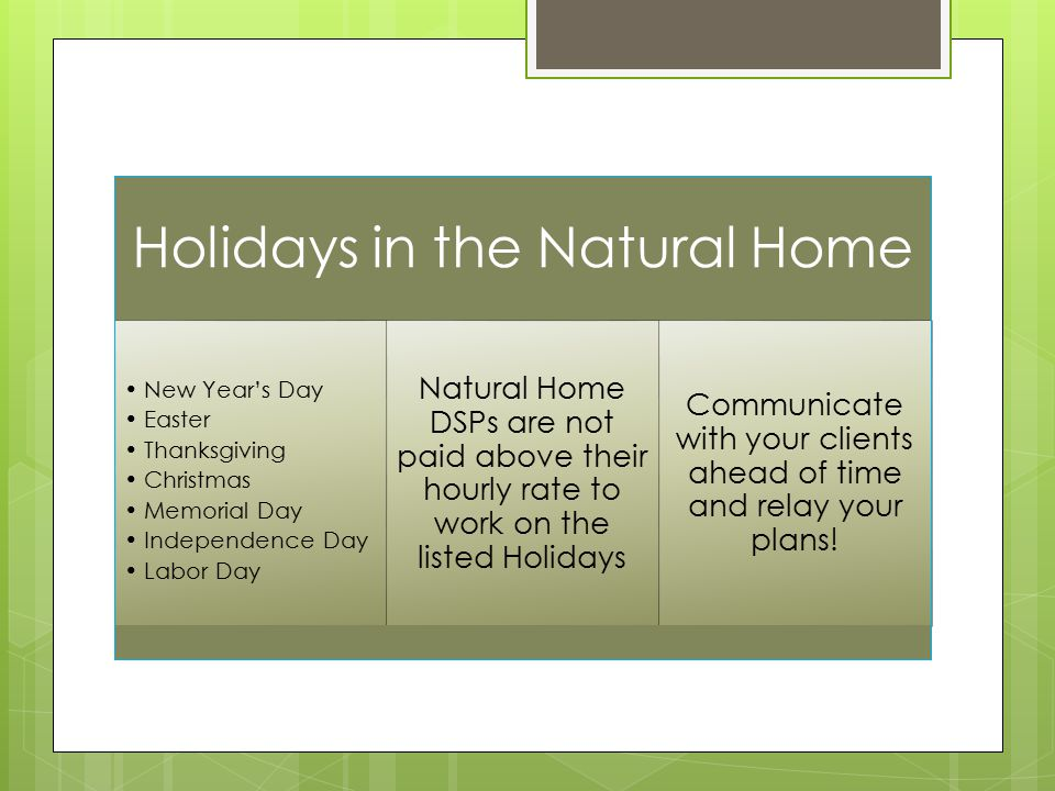 Holidays in the Natural Home New Year's Day Easter Thanksgiving Christmas Memorial Day Independence Day Labor Day Natural Home DSPs are not paid above