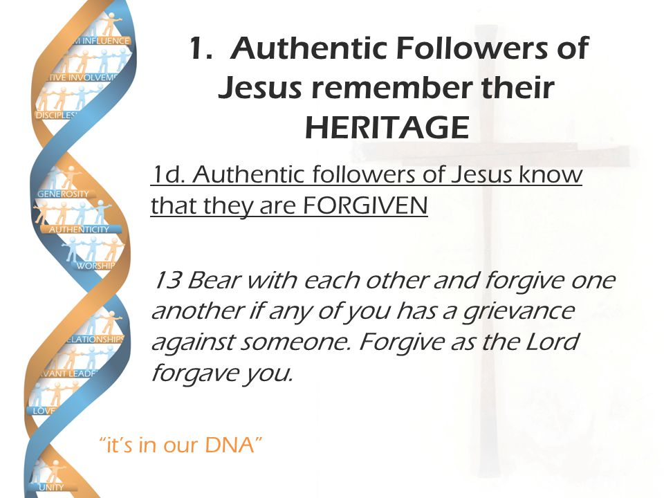 it's in our DNA 1. Authentic Followers of Jesus remember their HERITAGE 1d.
