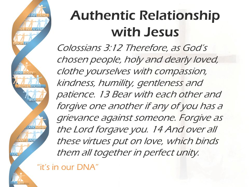 it's in our DNA Authentic Relationship with Jesus Colossians 3:12 Therefore, as God's chosen people, holy and dearly loved, clothe yourselves with compassion, kindness, humility, gentleness and patience.