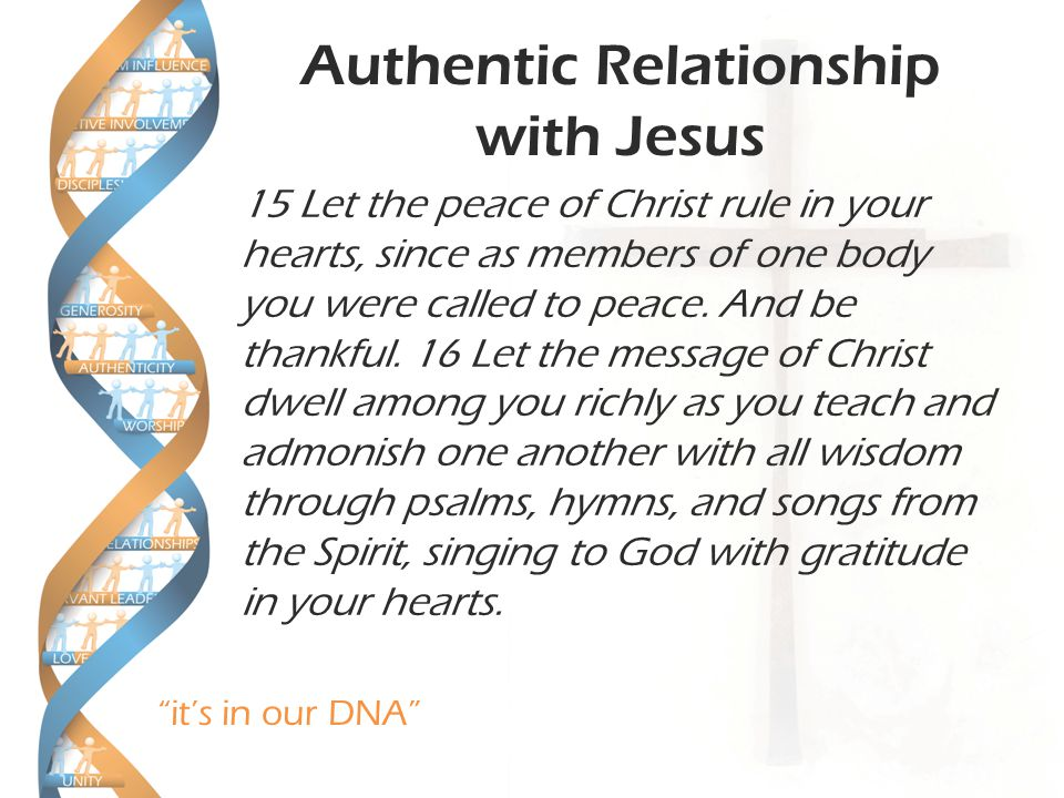 it's in our DNA Authentic Relationship with Jesus 15 Let the peace of Christ rule in your hearts, since as members of one body you were called to peace.
