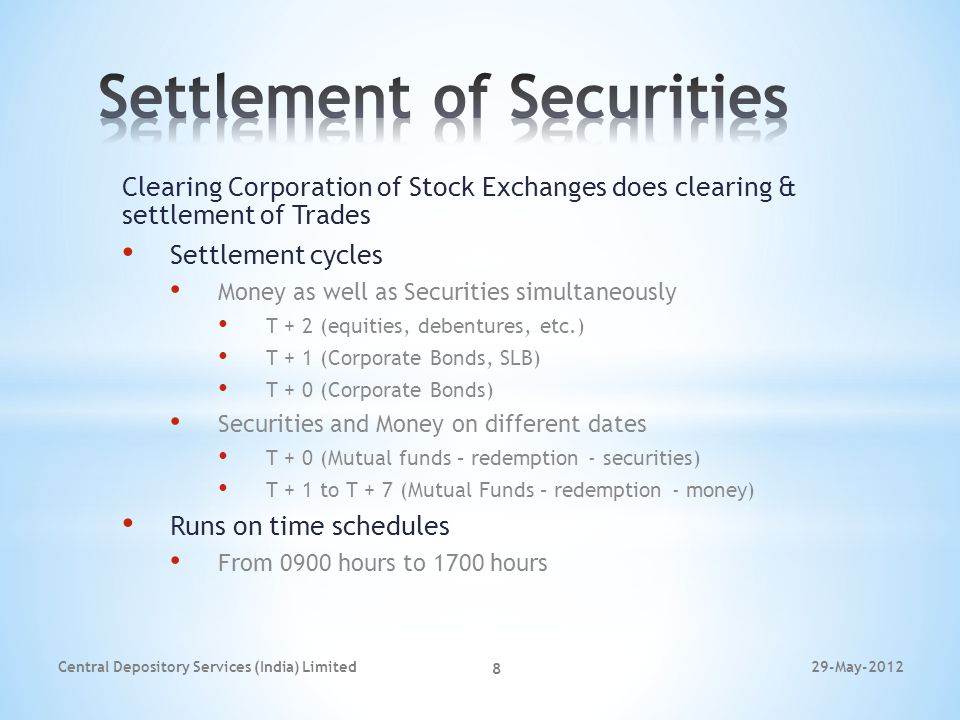 Clearing Corporation of Stock Exchanges does clearing & settlement of Trades Settlement cycles Money as well as Securities simultaneously T + 2 (equit