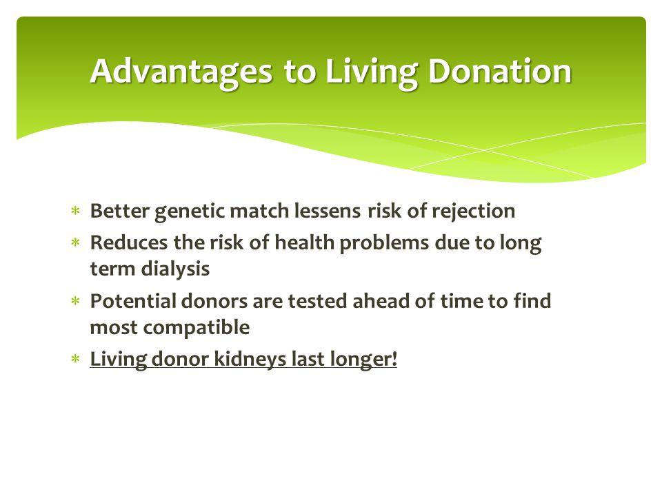 LIVING KIDNEY DONATION Graft Survival (transplanted kidney) SRTR DATA, 2014 National Average