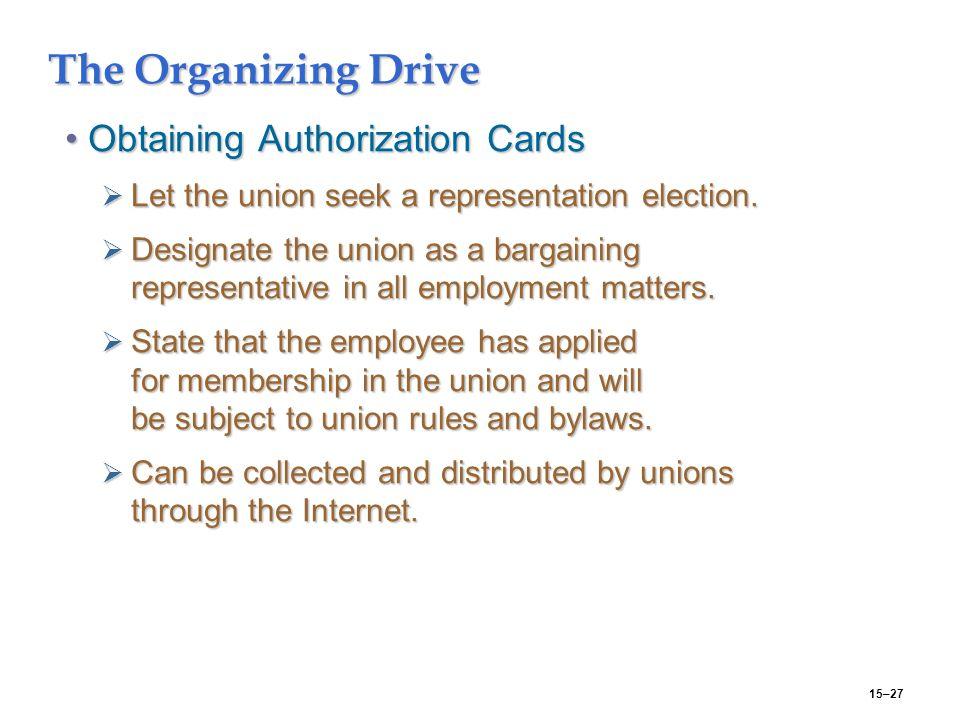 15–27 The Organizing Drive Obtaining Authorization CardsObtaining Authorization Cards  Let the union seek a representation election.
