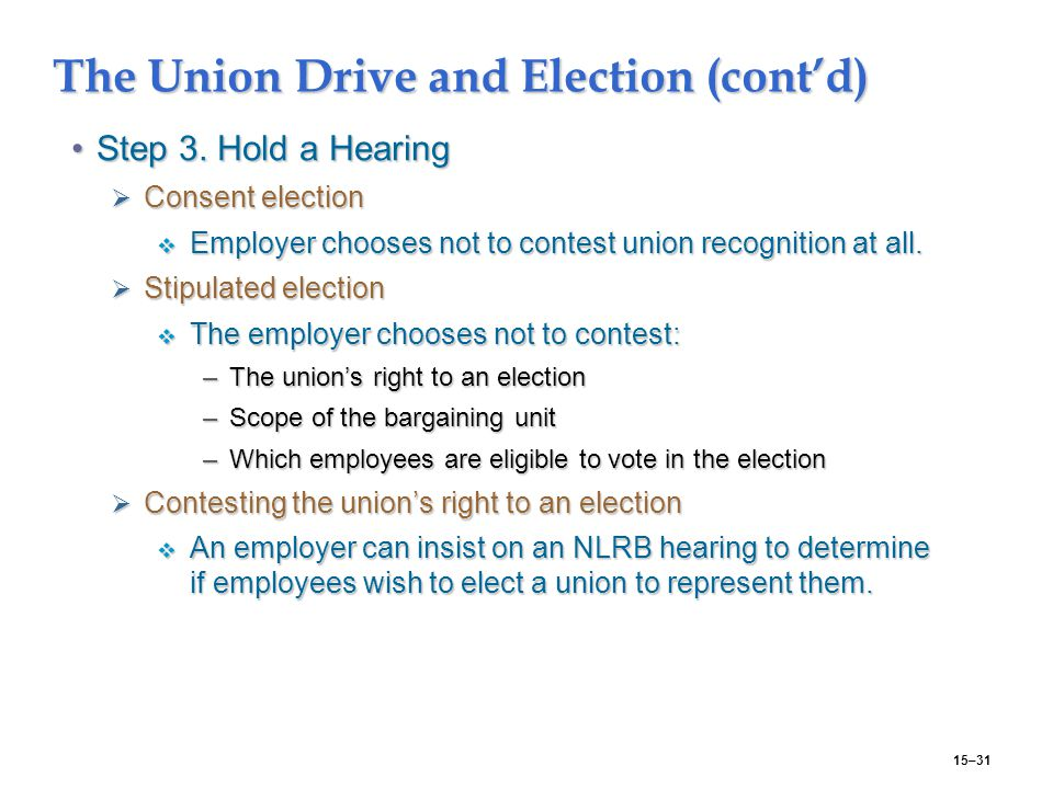 15–31 The Union Drive and Election (cont'd) Step 3.