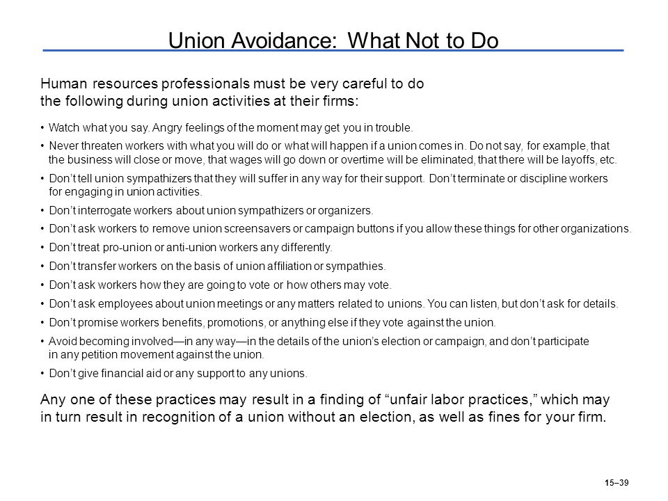 15–39 Union Avoidance: What Not to Do Watch what you say.