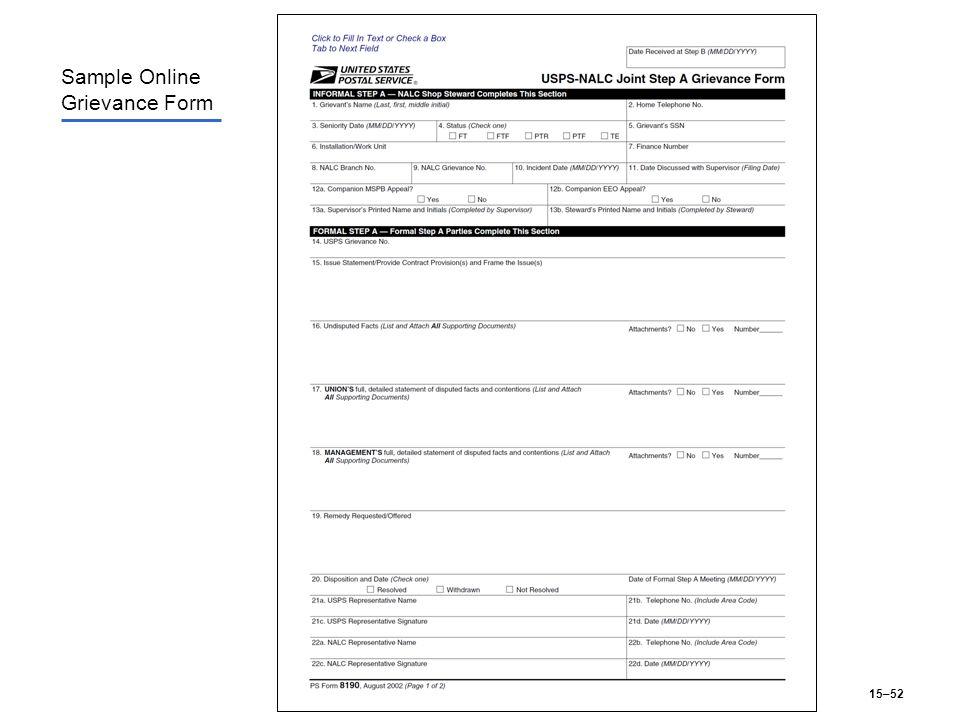 15–52 Sample Online Grievance Form