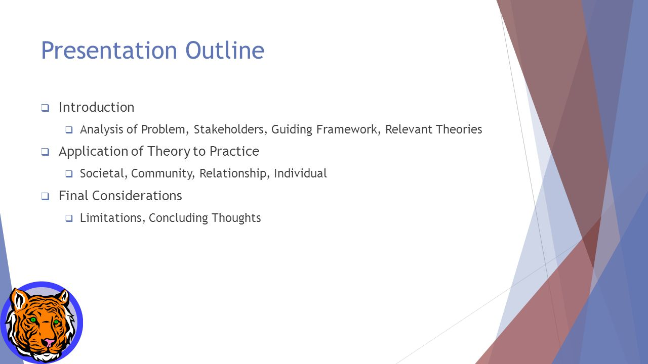 Presentation Outline  Introduction  Analysis of Problem, Stakeholders, Guiding Framework, Relevant Theories  Application of Theory to Practice  Societal, Community, Relationship, Individual  Final Considerations  Limitations, Concluding Thoughts