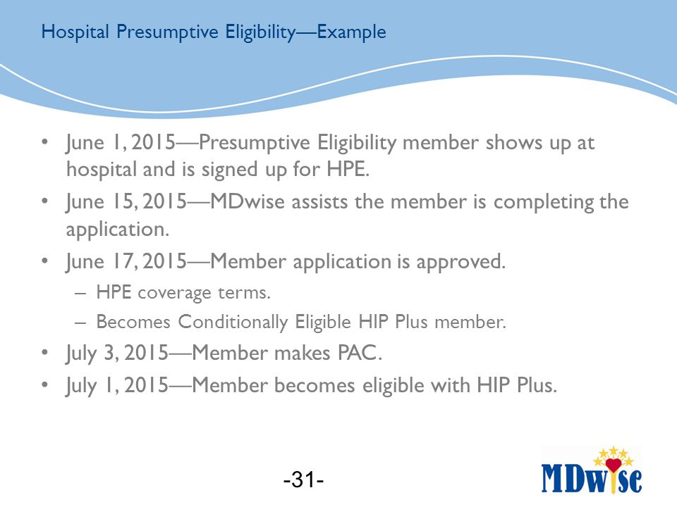 June 1, 2015—Presumptive Eligibility member shows up at hospital and is signed up for HPE.