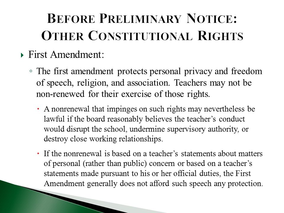  First Amendment: ◦ The first amendment protects personal privacy and freedom of speech, religion, and association.