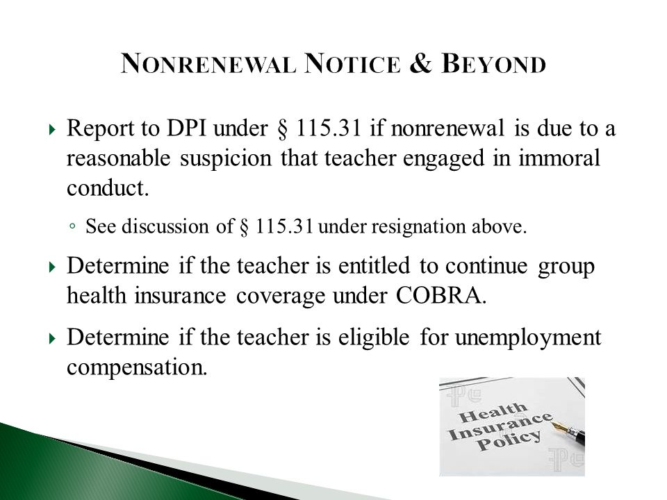  Report to DPI under § 115.31 if nonrenewal is due to a reasonable suspicion that teacher engaged in immoral conduct.