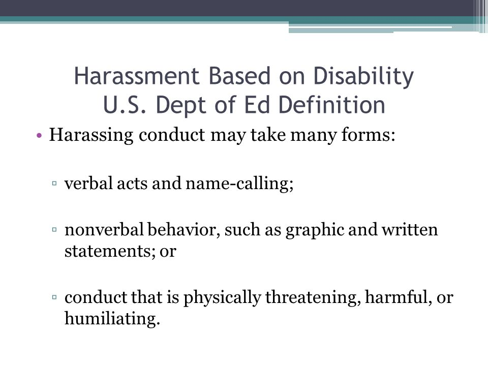 Harassment Based on Disability U.S.