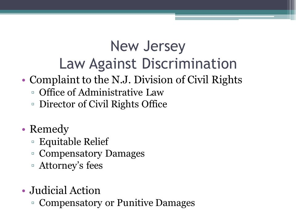 New Jersey Law Against Discrimination Complaint to the N.J.