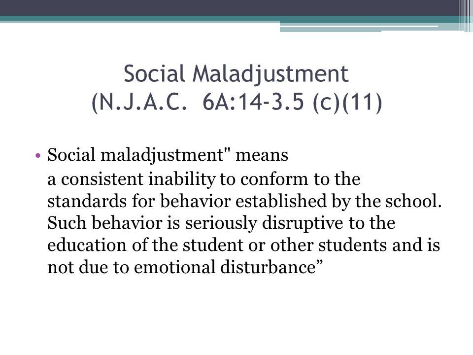 Social Maladjustment (N.J.A.C.