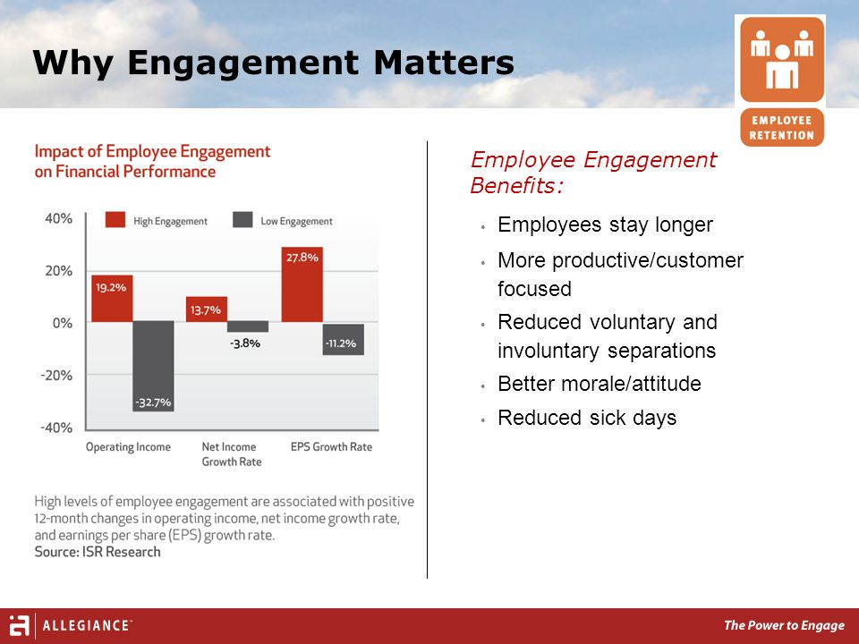 Employee Engagement Benefits: Employees stay longer More productive/customer focused Reduced voluntary and involuntary separations Better morale/attitude Reduced sick days Why Engagement Matters