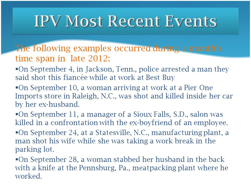 The following examples occurred during a month's time span in late 2012:  On September 4, in Jackson, Tenn., police arrested a man they said shot thi